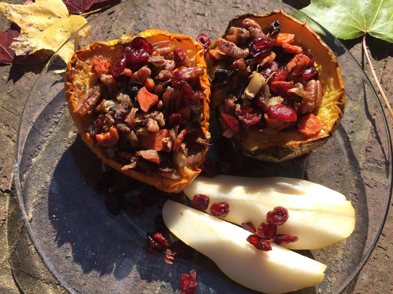 carrot and cranberry stuffed acorn squash